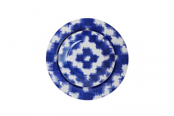 Ikat Plate Blue Large - $20.00